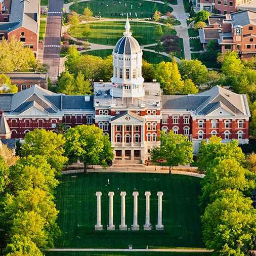 Aerial photo of Jesse Hall and the Columns on Francis Quadrangle