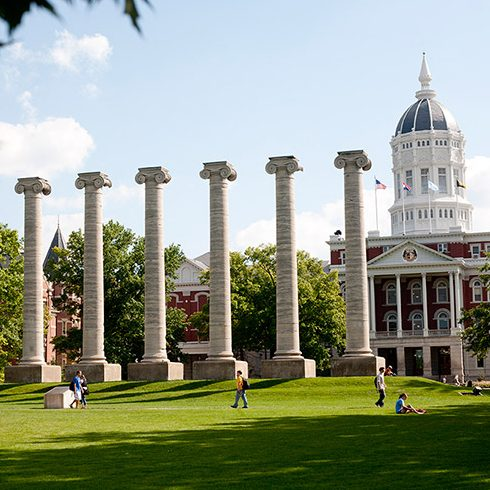 The Columns with Jesse Hall in the background.