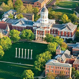 Aerial view of Jesse Hall and The Columns on Francis Quadrangle