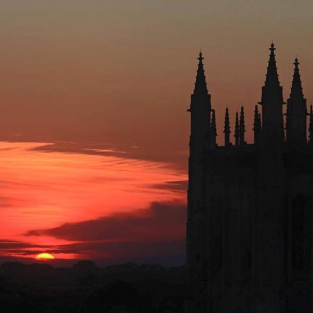 Memorial Union at sunset.