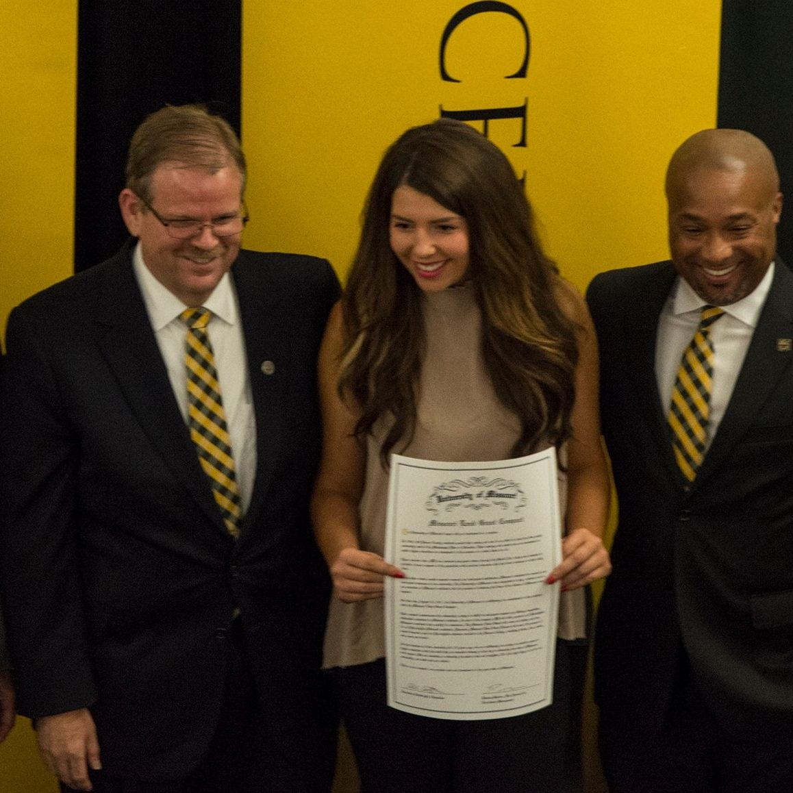 Chancellor Cartwright, Pelema Morrice and others sign Land Grant Compact