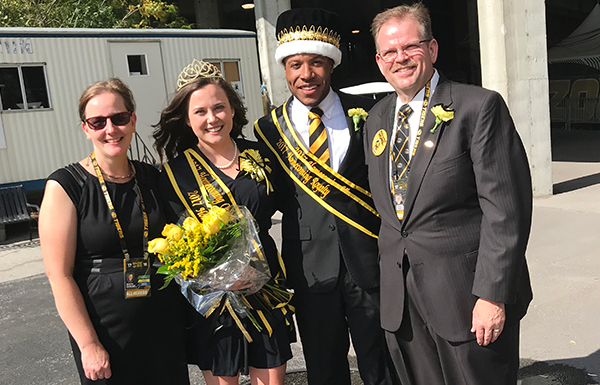 Dr. Alexander and Melinda Cartwright with 2017 Homecoming Queen Tori Schafer and King Sean Earl