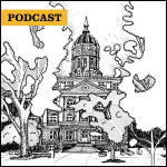 Inside Mizzou podcast cover: drawing of Jesse Hall