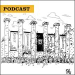 Podcast: Drawing of annual Tiger Walk tradition showing first-year students running through Columns to symbolize their entry into the university