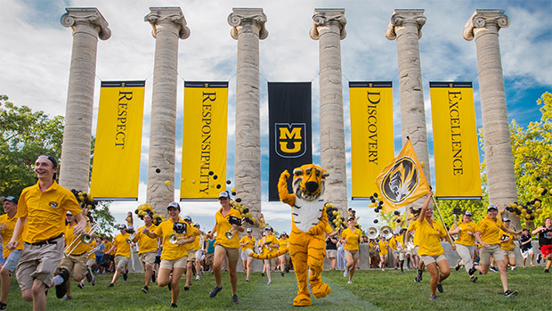Truman the Tiger and Students participate in the Tiger Walk