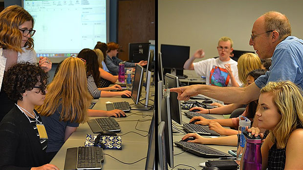 high school students participate in a journalism workshop