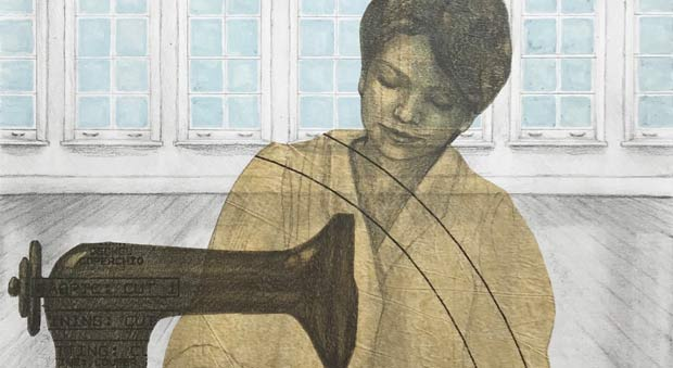 Artwork of a woman at a sewing machine