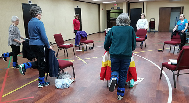Older adults participate in a fall prevention program