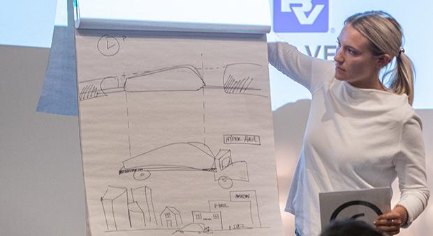 Student with Hyperloop renderings