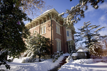 The Residence on Francis Quadrangle with snow