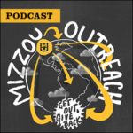 Inside Mizzou Podcast: Mizzou Outreach. Illustration of Earth with arrows stretching around the globe from the Mizzou campus