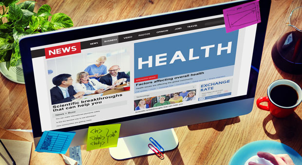 Computer screen displaying health news