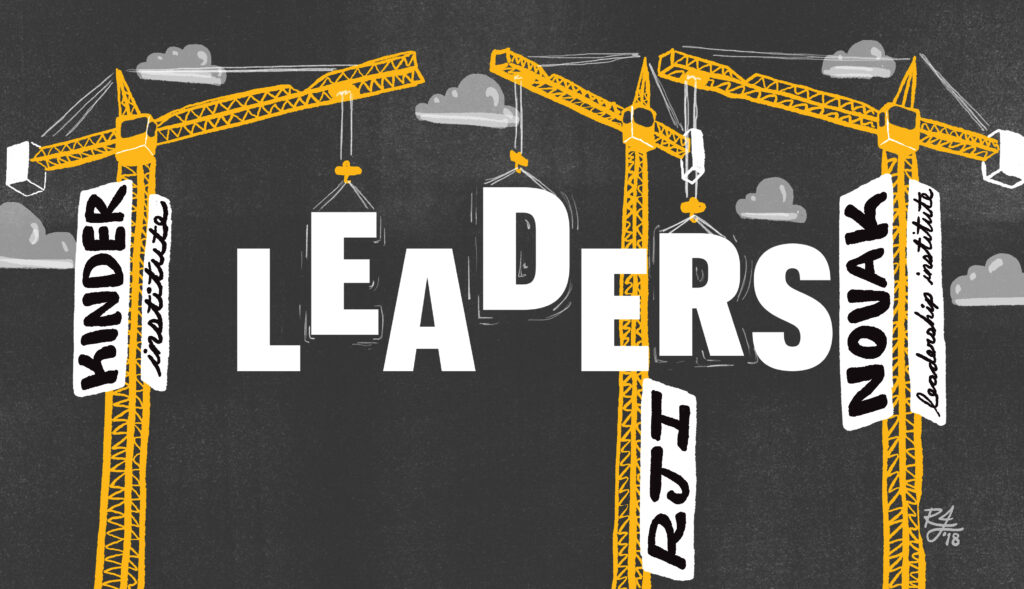 Building Leaders illustration: construction cranes lifting letters to spell Leaders