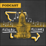 Podcast: Musical Missouri. Illustration of Jesse Hall, State of Missouri outline, musical staff and notes