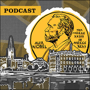 Podcast: Illustration of Nobel medal rising over the city of Stockholm, Sweden