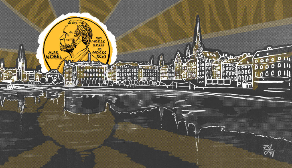 Illustration of Nobel medal rising over the city of Stockholm, Sweden
