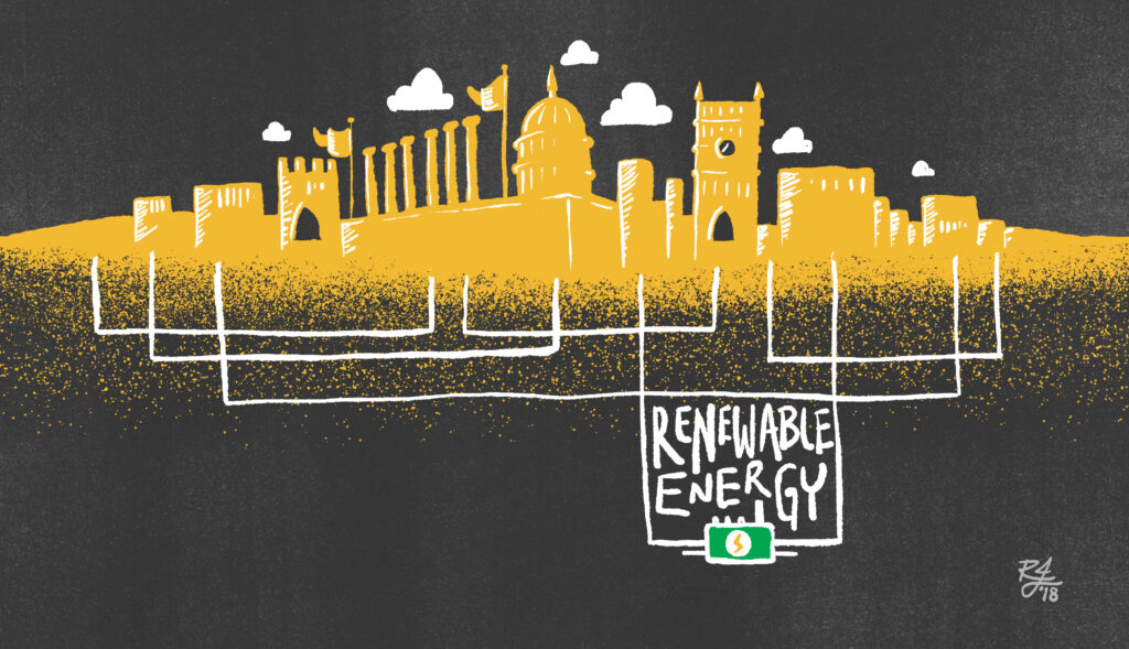 Renewable Energy illustration of power lines below campus
