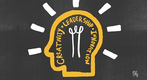 Profile of head-shaped light bulb: Creativity, Leadership & Innovation