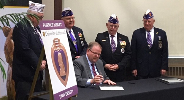 Mizzou is designated a Purple Heart University
