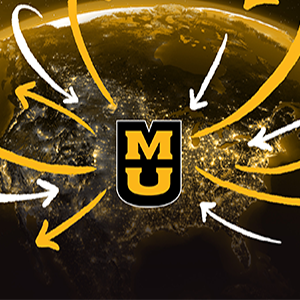 Earth with arrows pointing to MU logo