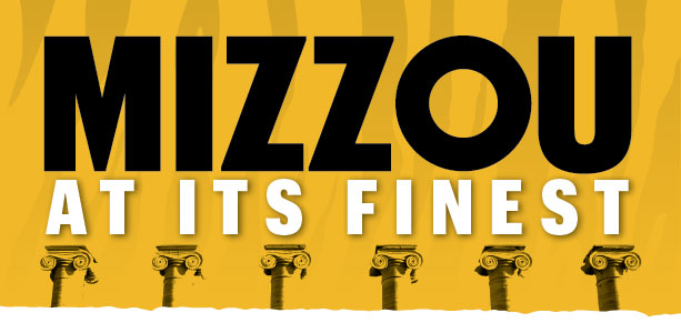 Mizzou at Its Finest logo on top of columns