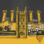 Illustration of famous buildings at Mizzou