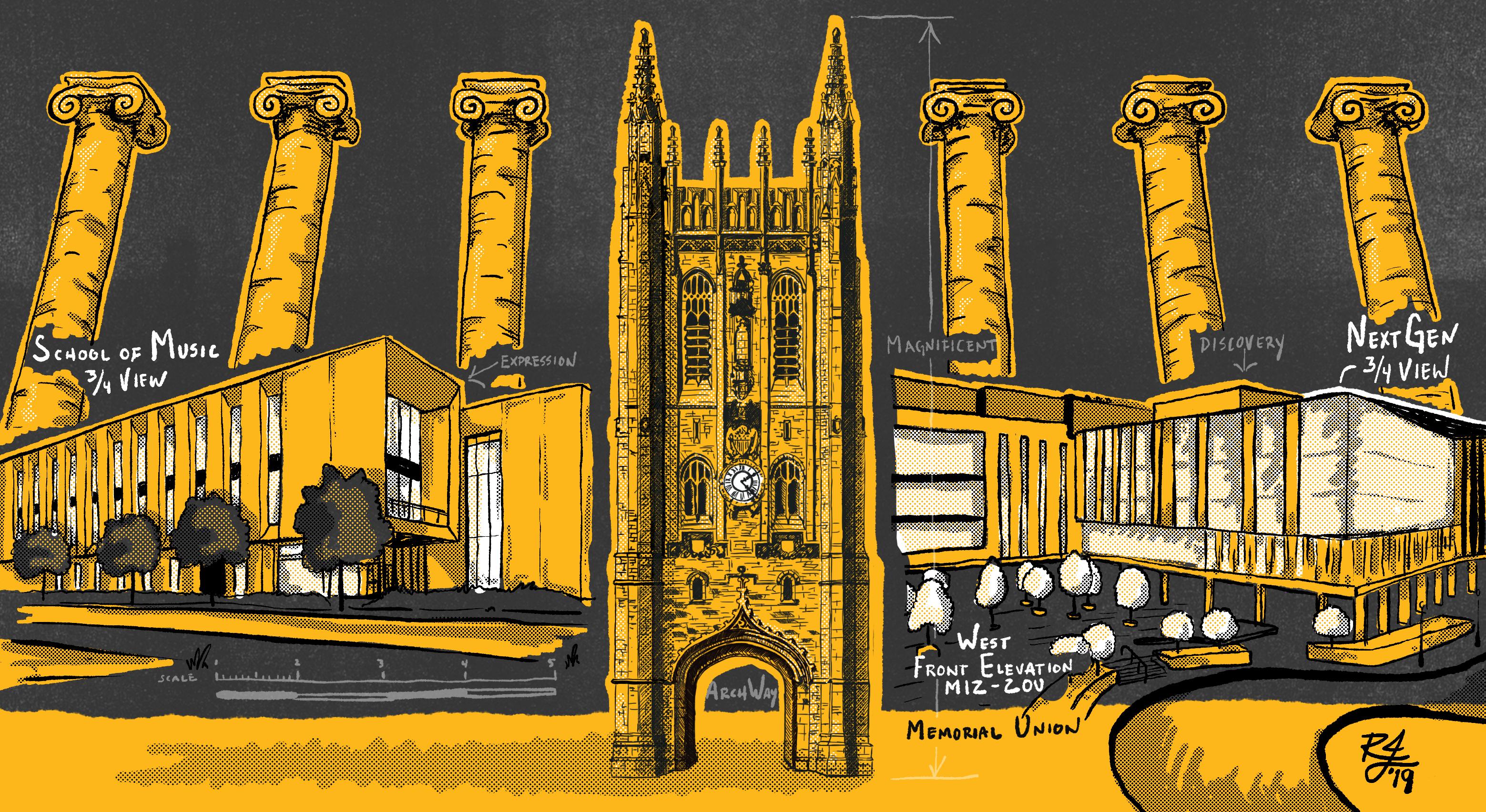 Illustration of the Columns, Memorial Union, new School of Music building and the future NextGen Precision Health Institute