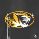 Illustration of Truman the Tiger on a ladder washing the MU logo