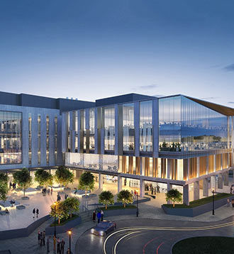 Architectural rendering of NextGen Precision Health Institute