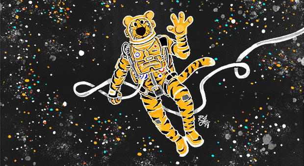 Truman the Tiger goes on a space walk