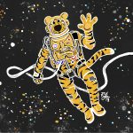 Illustration of Truman the Tiger on a space walk