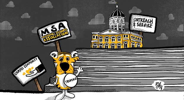 Illustration of Truman the Tiger on the steps of Jesse, with signs supporting MSA