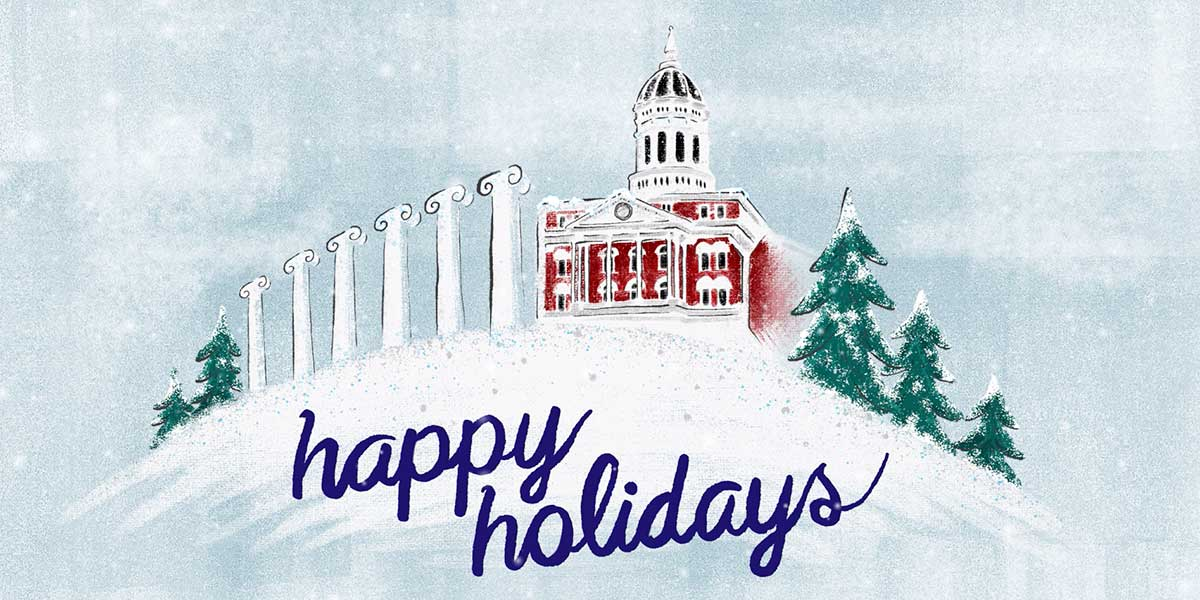Happy Holidays: Illustration of snow falling on Jesse Hall and the Columns