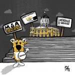 Illustration of Truman standing in front of Jesse with MSA signs
