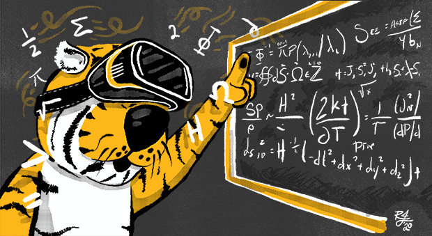 Illustration of Truman the Tiger at a chalkboard