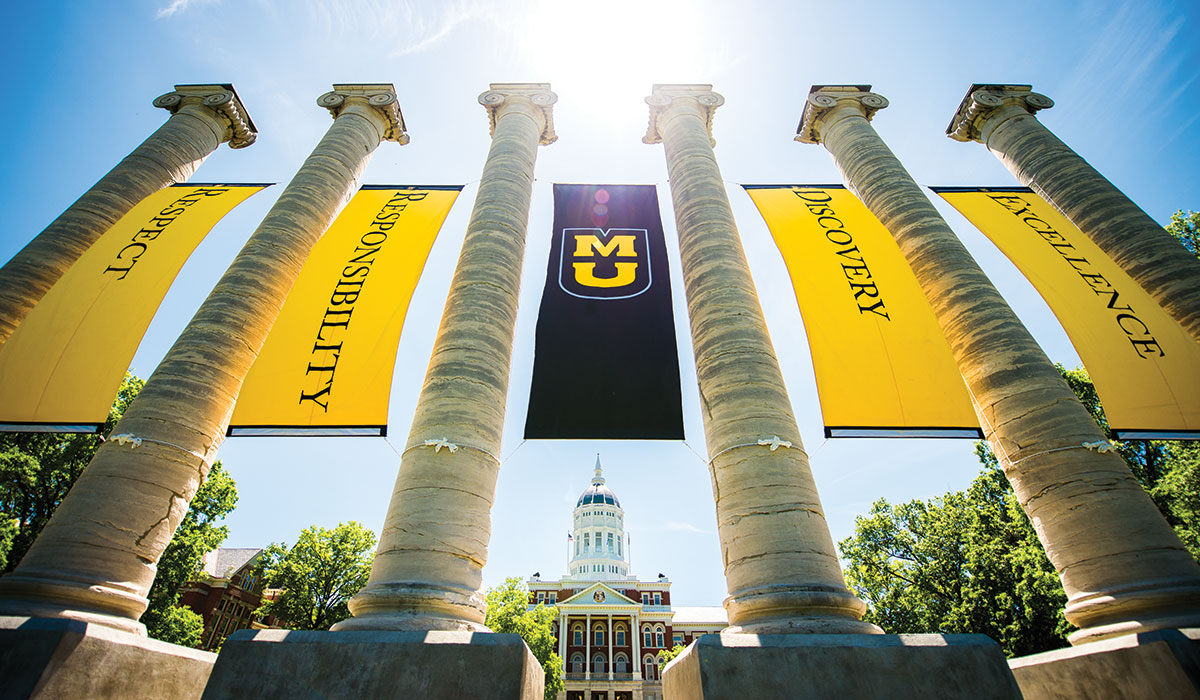 The Columns draped with Respect, Responsibility, Discovery and Excellence banners