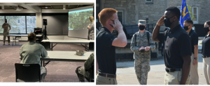 "A picture of the ""Leadership Laboratory"" land navigation and convoy debrief on the left. A picture of Drill and Ceremonies on the right."