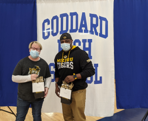 A photo of Dr. Kristi Arends-Ward and Marcus James of Goddard High School in Goddard, Ks.