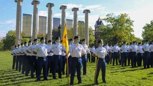 A photo of MU ROTC cadets at the 2021 Joint Services Pass in Review.