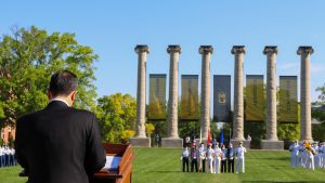 A photo of President Choi speaking at the opening of the 2021 Joint Services Pass in Review