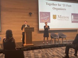 A photo of President Mun Y. Choi speaking at the Together for '21 Fest kick-off event, August 5, 2021.