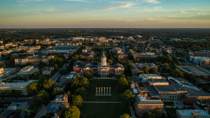An photo of the Columns and Jesse Hall from above.