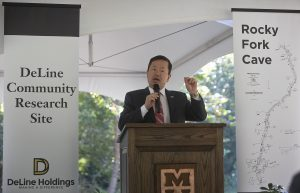 A photo of President Choi speaking at the DeLine Community Research Site grand opening.