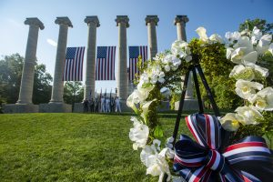 A photo of a wreath-laying from a previous Patriot Day.