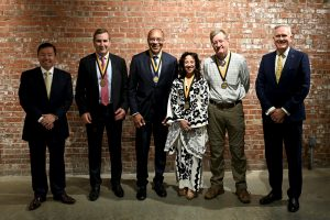 A photo of President Choi with the Missouri Honor Medal honorees and Dean Dave Kurpius.
